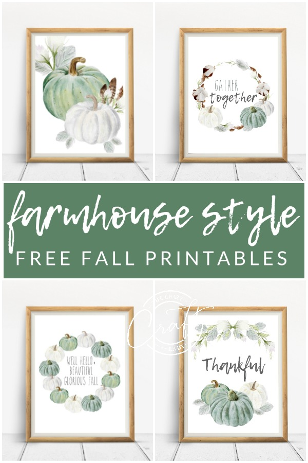 Farmhouse Style Free Fall Printables from The Crazy Craft Lady