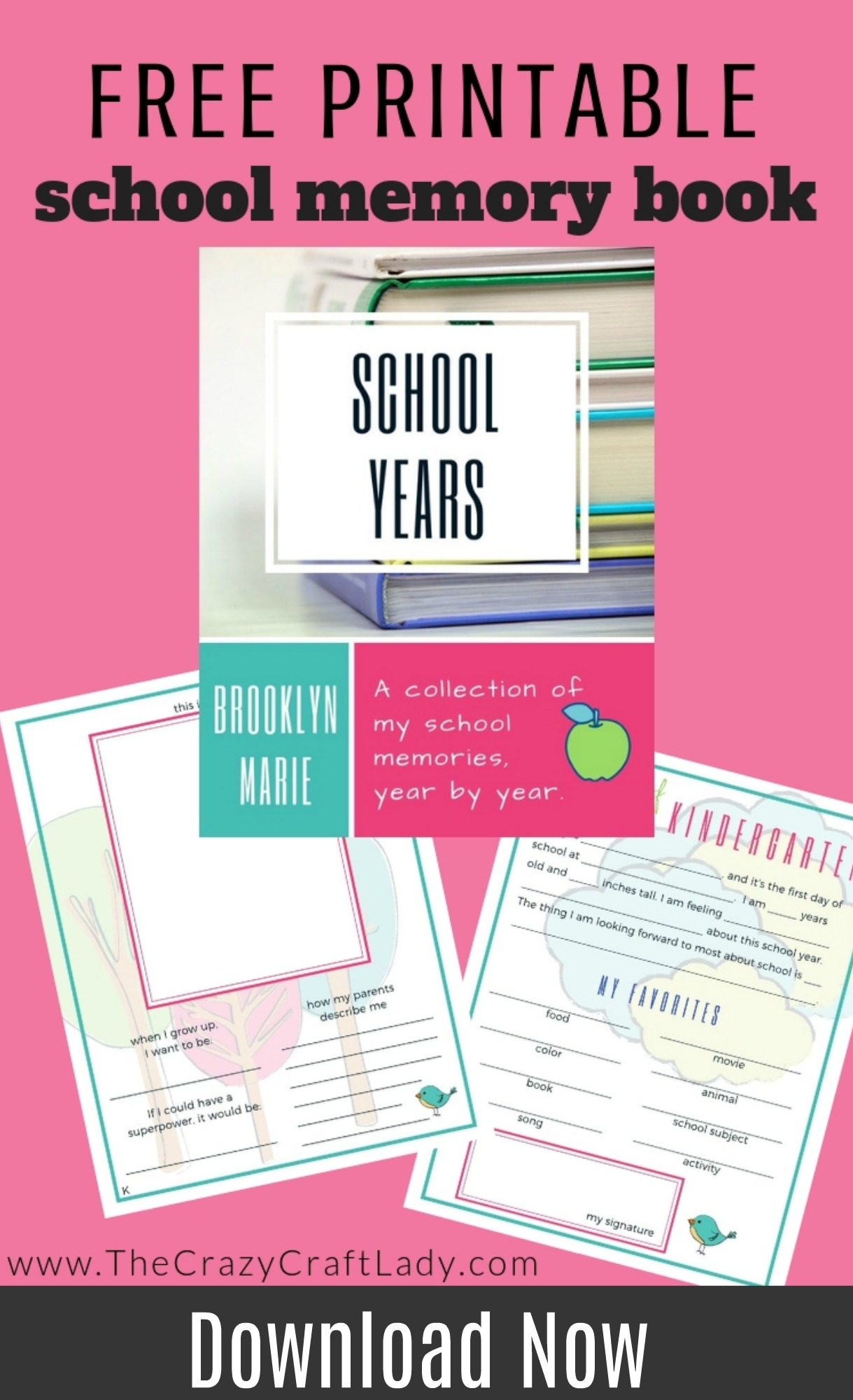 graphic about Memory Book Printable identified as Cost-free Printable Higher education Many years Memory Guide - The Insane Craft Woman