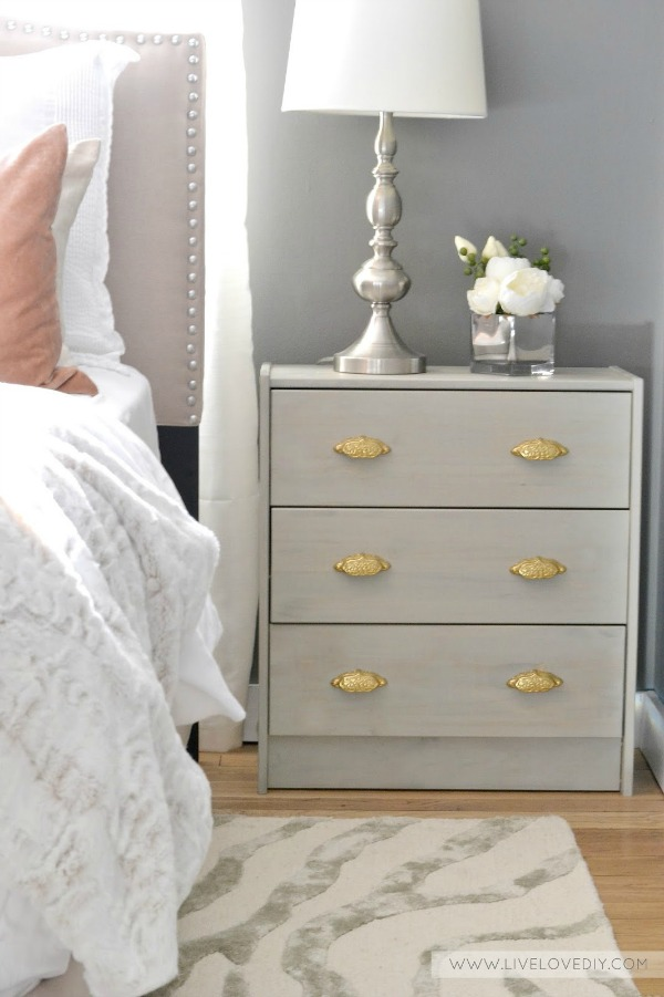 Ikea Rast hack with gray wood stain and gold handles