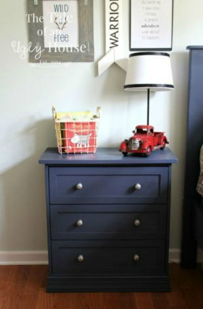 Ikea Rast makeover with drawer trim and navy paint