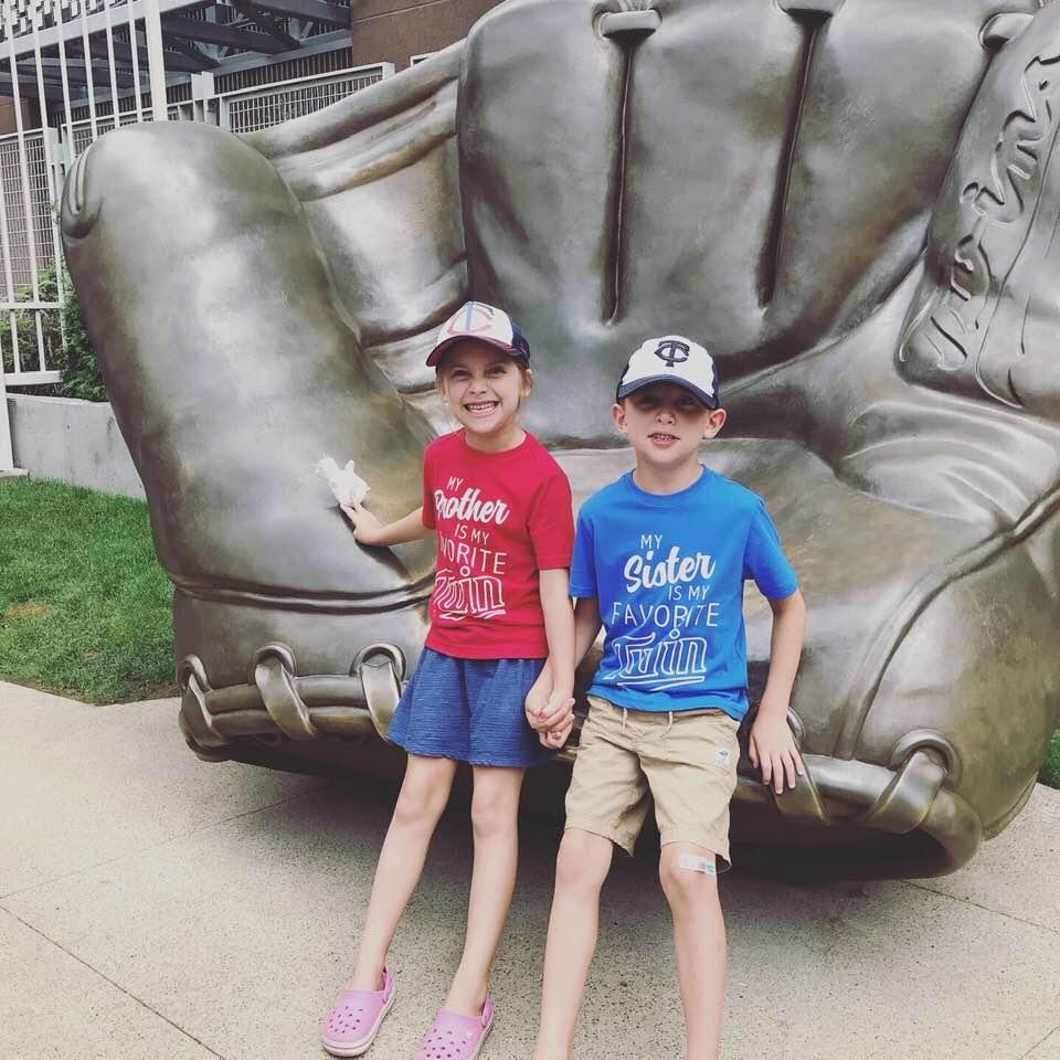 MN Twins baseball shirts for twin siblings