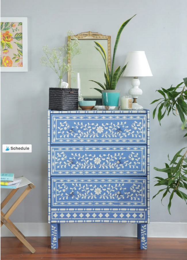 Stencil and Paint Ikea Rast makeover