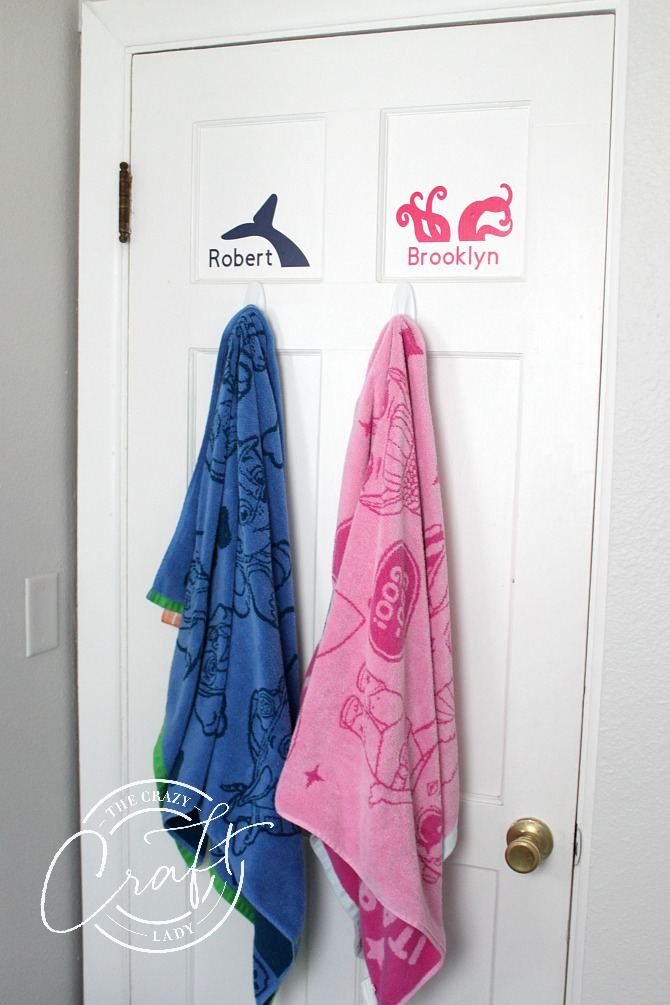 custom vinyl towel hook label decals for kids bathroom