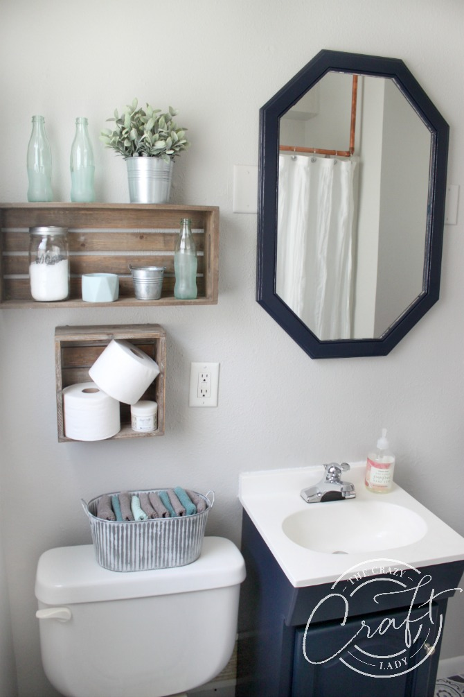 navy and gray neutral farmhouse small bathroom