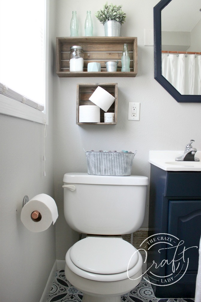 small farmhouse bathroom updates on a budget - DIY bathroom makeover