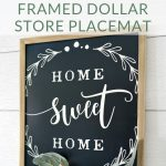 Grab a plastic placemat and picture frame from the dollar store and make this beautiful farmhouse-style framed placemat. You won't believe this DIY wall decor came from the Dollar Tree!