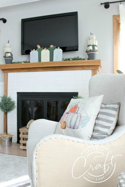 DIY Pumpkin Decor and my Fall Mantel - See my latest two DIY pumpkin decor projects and a neutral, farmhouse style fall mantel. DIY scrap wood pumpkins and dollar store foam pumpkin topiaries.