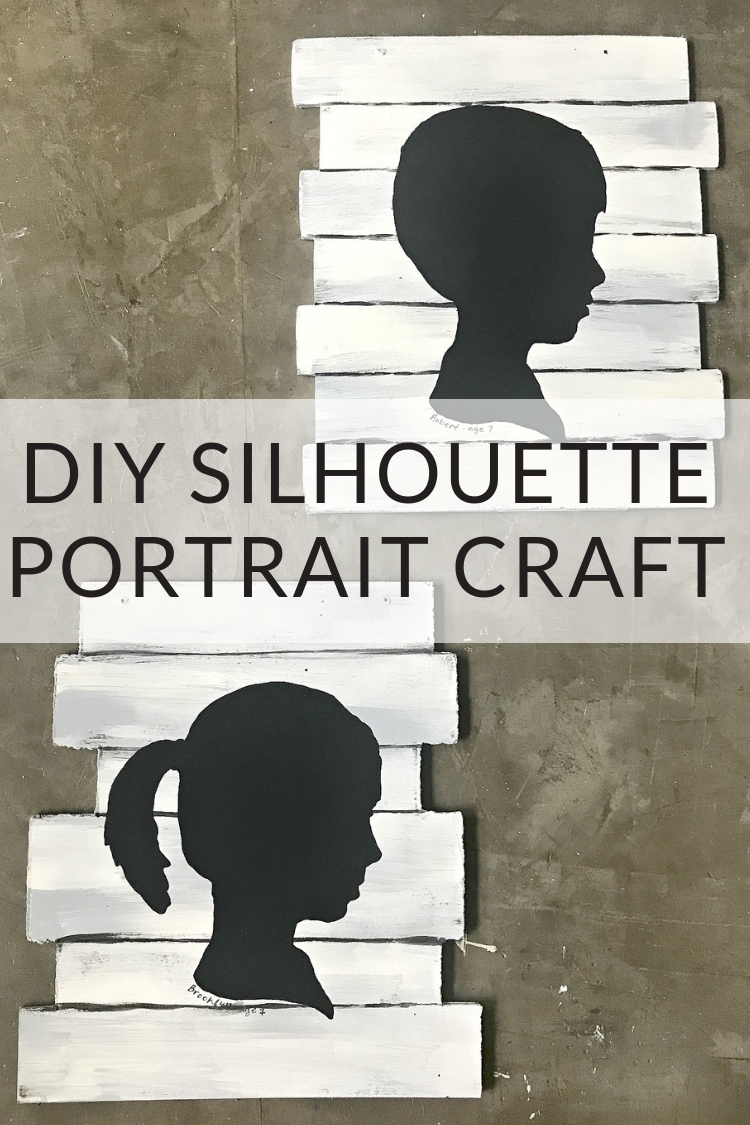 DIY Silhouette Portrait Craft - Watch this tutorial to see how to paint a kids silhouette portrait over a Dollar Tree seasonal decor hanger, using chalk paint.