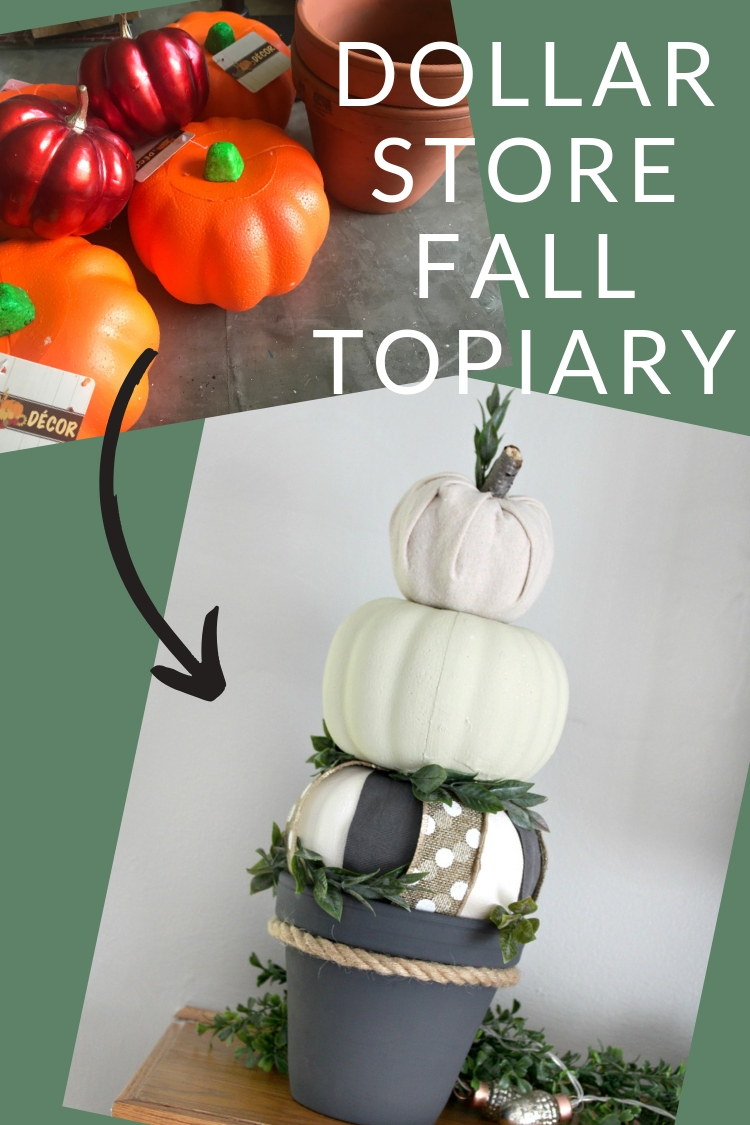 Dollar Store Fall Topiary - make this farmhouse style fall decor from Dollar Tree foam pumpkins and a clay pot