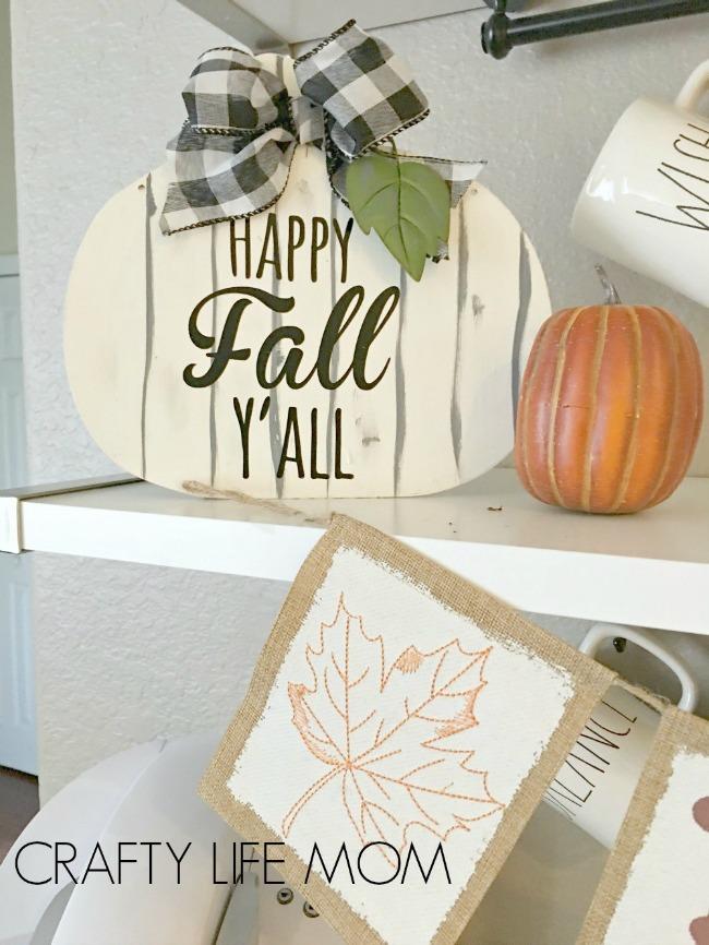 Fall Farmhouse Pumpkin Sign - Dollar Store Craft