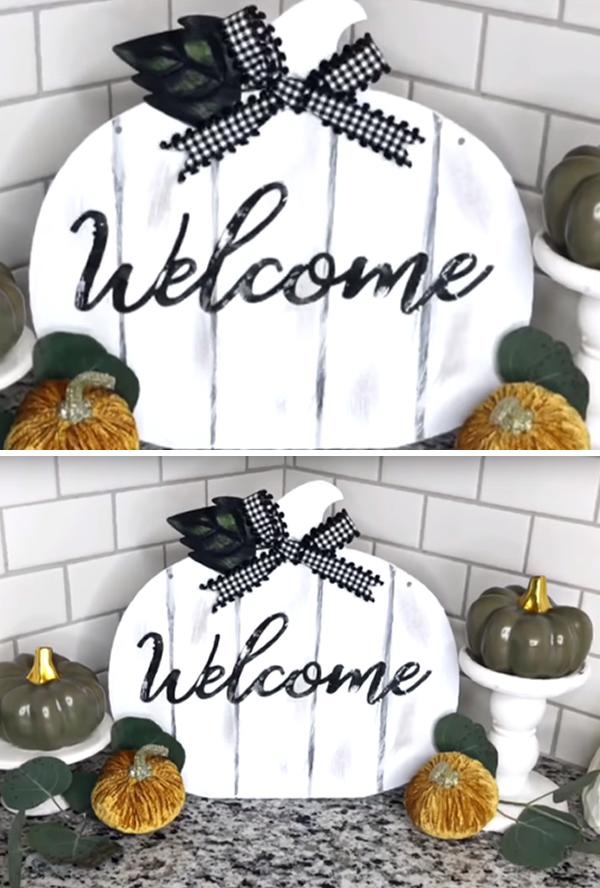 Farmhouse Dollar Store Welcome Pumpkin Sign