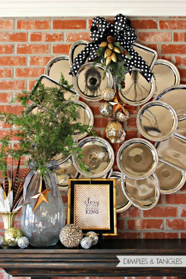 Giant Dollar Store Silver Tray Wreath