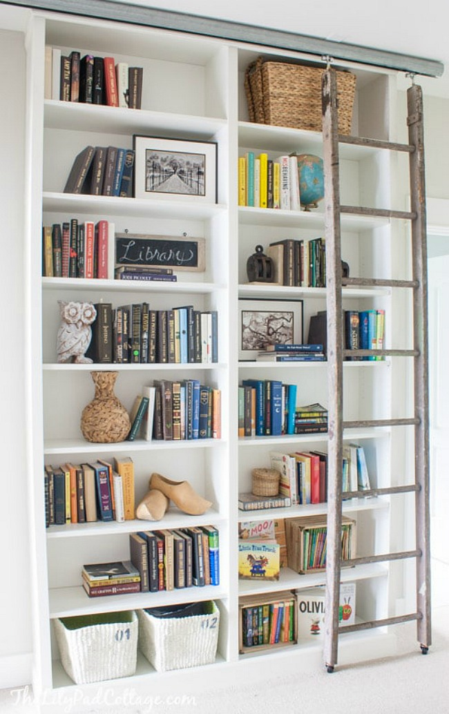 Ikea Billy Bookcase hack with library ladder