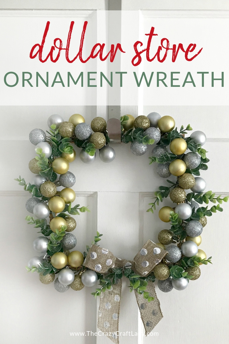 Grab a plastic picture frame and some mini ornaments from the Dollar Tree and make this cute farmhouse glam Dollar Store Ornament Wreath.