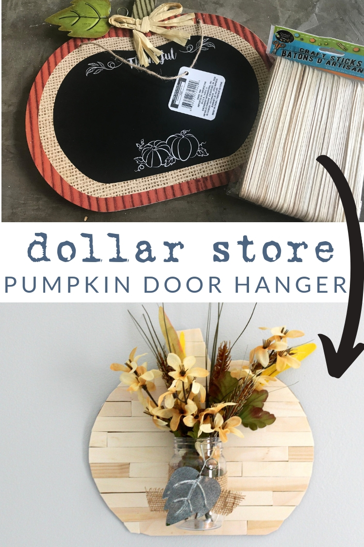 Fall door decoration make from Dollar Tree supplies.