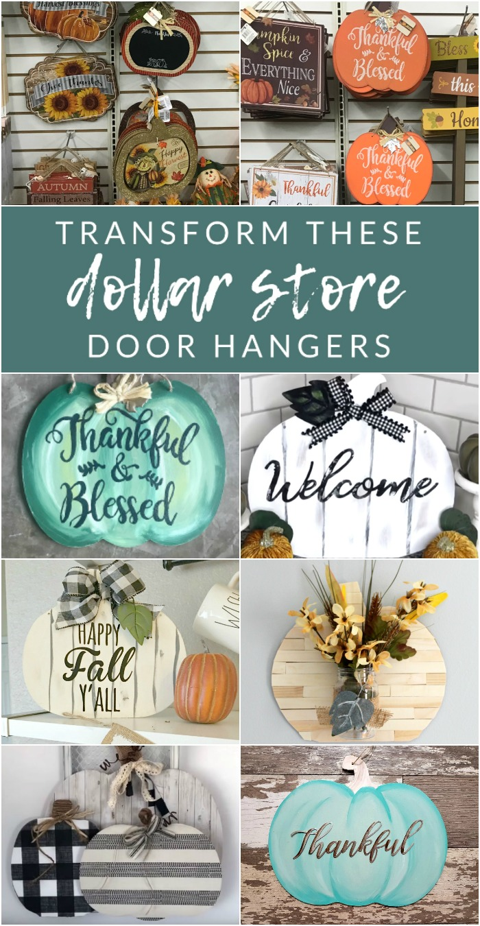 transform these dollar store door hangers - Grab a few pumpkin signs from Dollar Tree, and let's get crafting. Transform these dollar store pumpkin door hangers into completely custom fall decor.