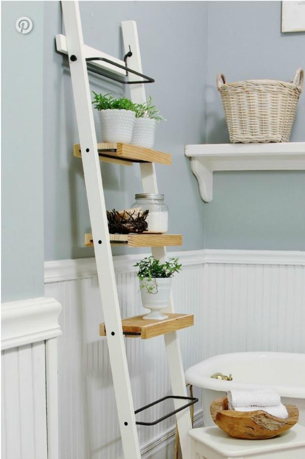 DIY Ikea Ladder Bathroom Storage Shelf
