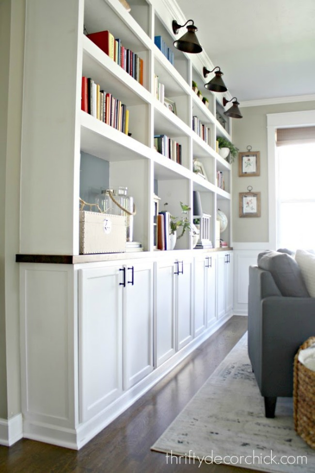 Ikea cabinet built ins with open shelving