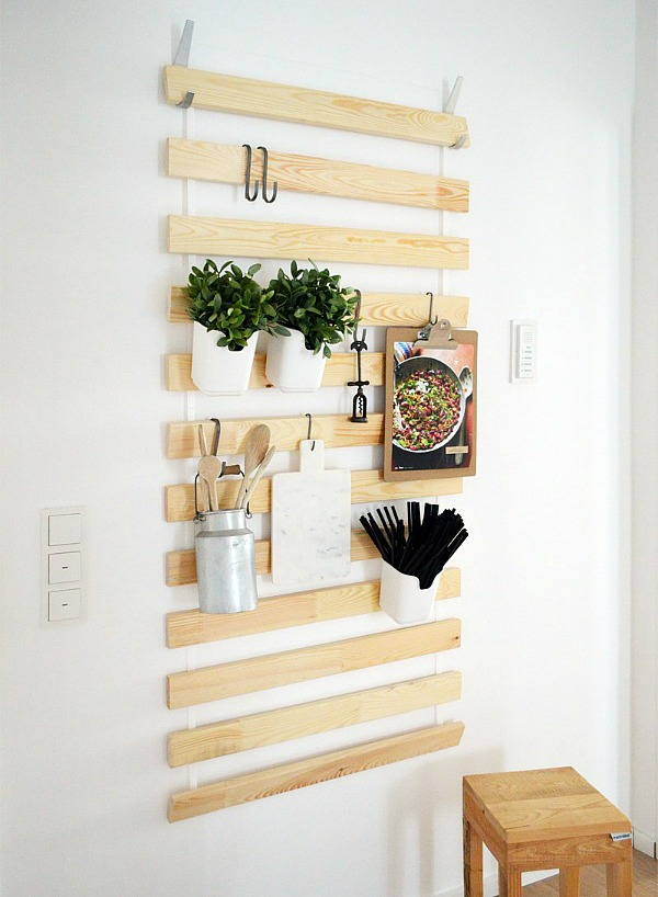 Ikea kitchen hack - use bed slats for vertical storage space
