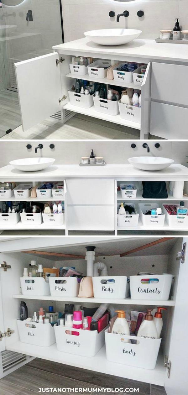Organized Bathroom Shelves with IKEA VARIERA tubs