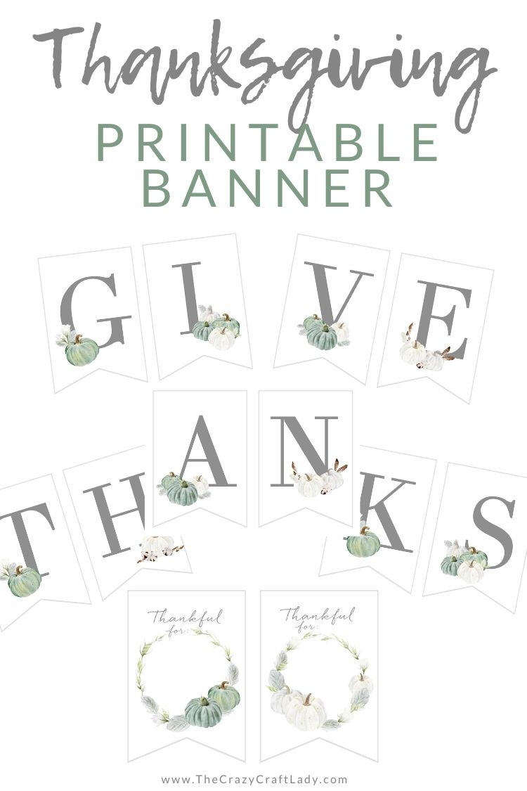 "Download and print this FREE printable ""give thanks"" banner. Decorate for Thanksgiving with this farmhouse-style banner that each guest can write on."