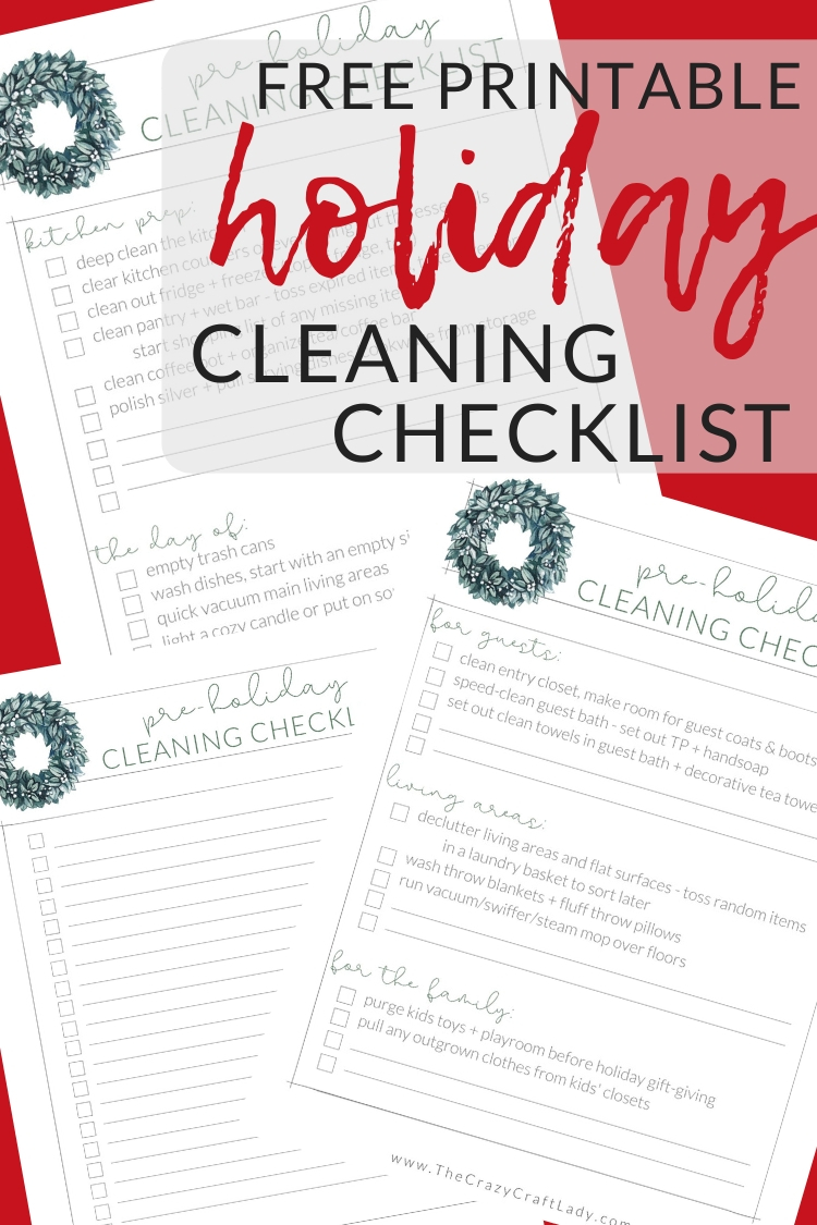 Grab this FREE printable holiday cleaning checklist to make sure your home is guest and party-ready before the holidays!