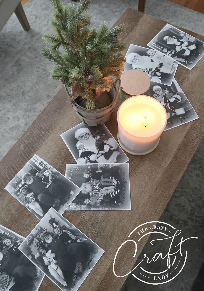 Display your black and white Santa photos on your coffee table at Christmas