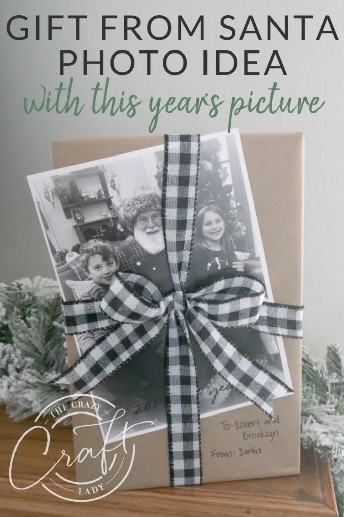 """Gift from Santa Photo Idea - attach a copy of this year's """"Santa visit picture"""" to their gift from Santa."""