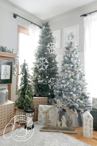Come take a tour around my Christmas living room, complete with THREE neutral farmhouse Christmas trees and DIY custom burlap linen stockings.