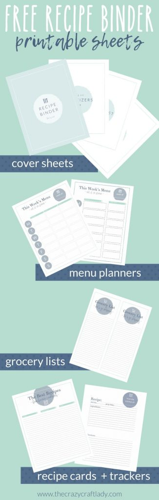 Grab these FREE printable recipe binder sheets and meal planners to help keep your recipes and meal prep organized