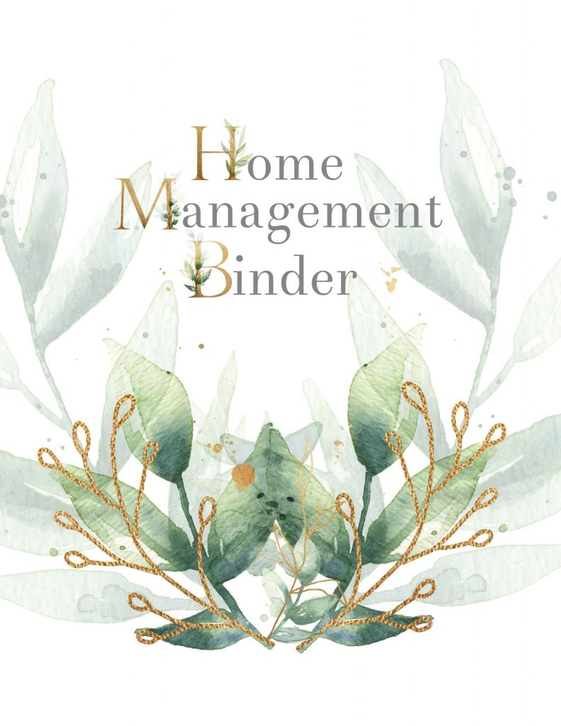 Home Management Binder Cover Sheet