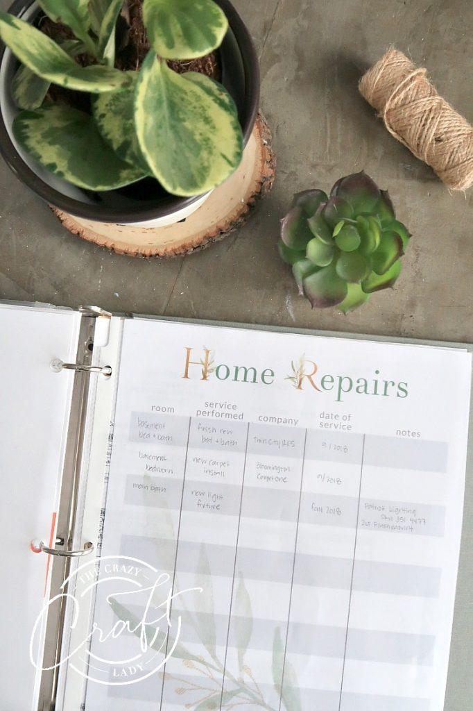 Home Repairs Printable Tracking Sheet
