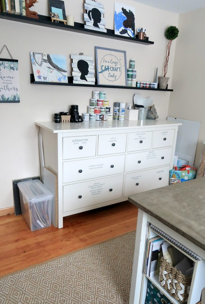 Ikea Hemnes dresser for craft room storage