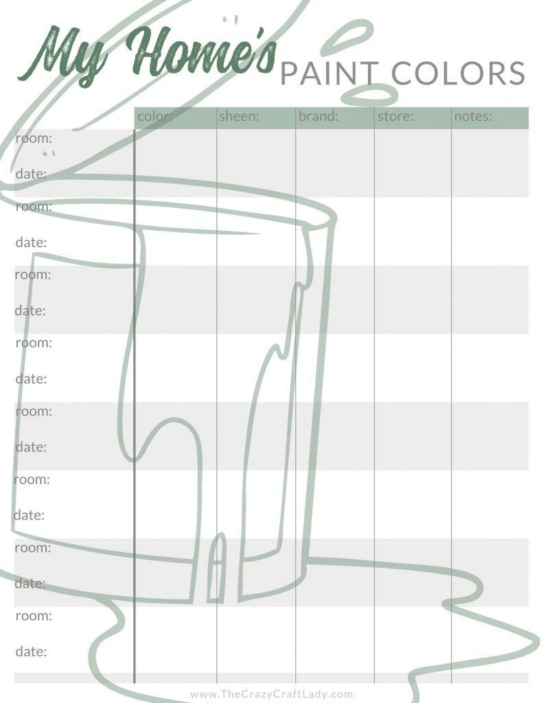 Printable Home Paint Color Chart