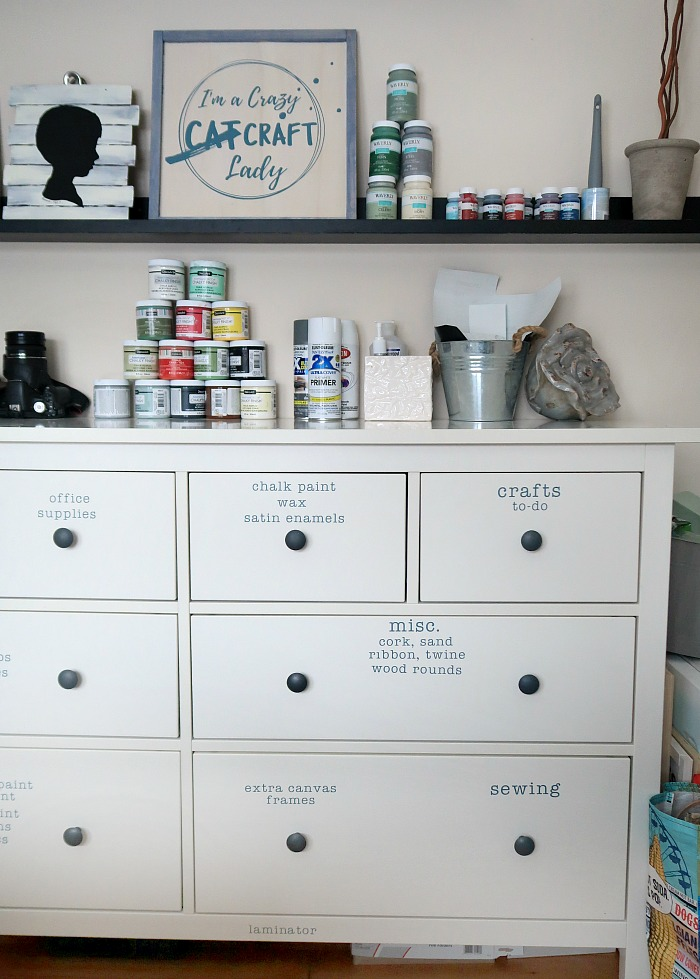 craft room dresser storage - Ikea Hemnes dresser for craft supply storage