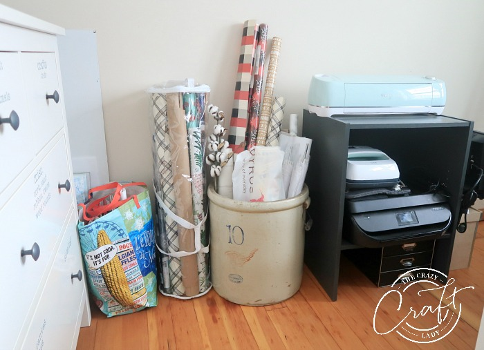 cricut, printer, and gift wrap storage