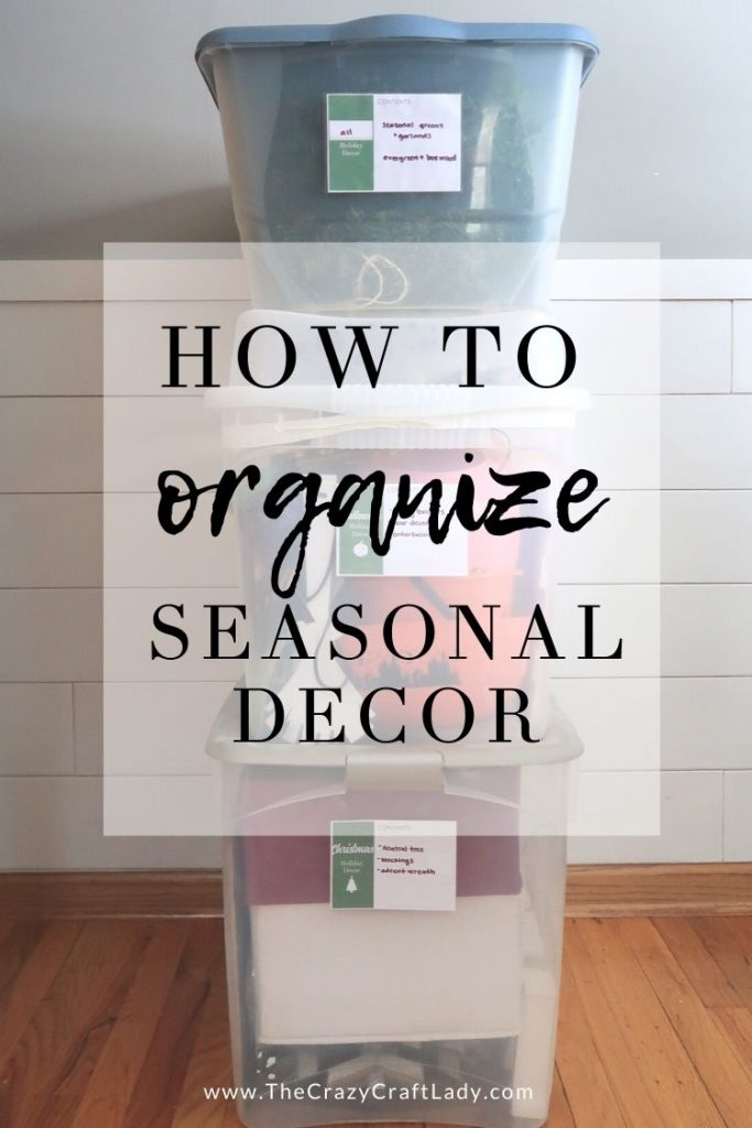 How to organize seasonal decor with FREE printable labels for your storage boxes and tubs