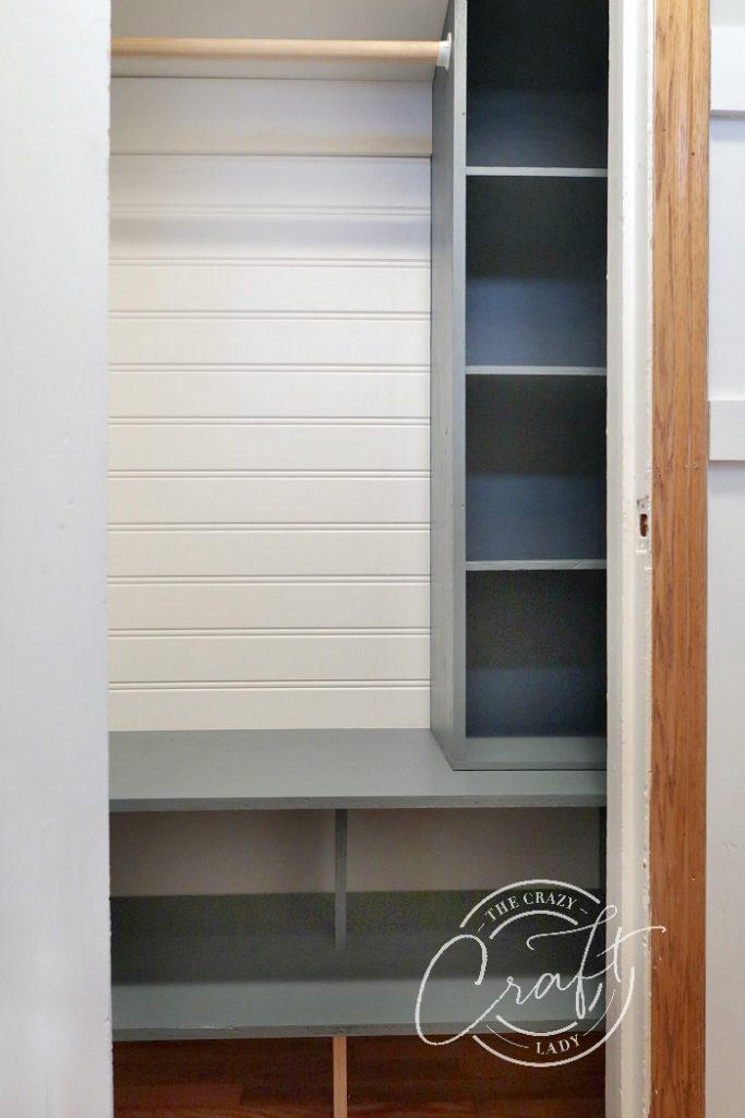 navy blue DIY entry closet shelves