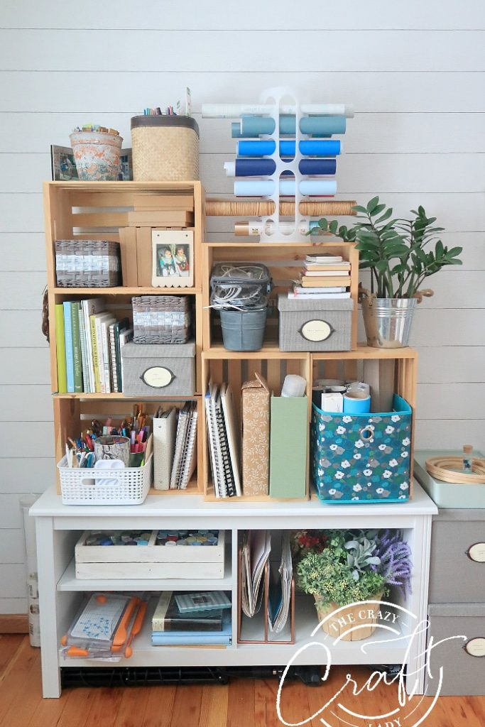 wooden craft craft room storage - DIY an open shelving system from wooden crates.