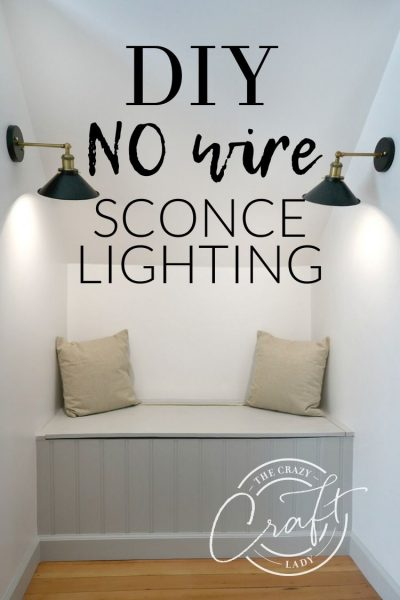How to add accent lights without power or cords with this DIY no wire sconce lights *magic light hack* - See how easy it is to add lighting without running electrical wiring or hiring an electrician.