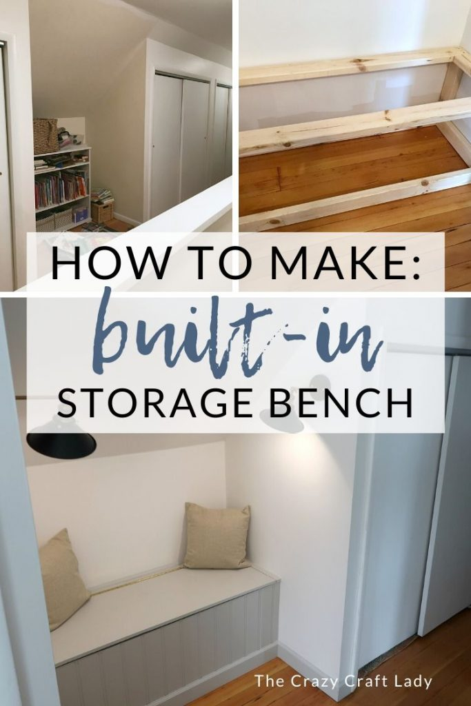 How to build a hallway storage bench - Follow this EASY and inexpensive tutorial to build a reading nook bench in your home. It's great for extra storage!