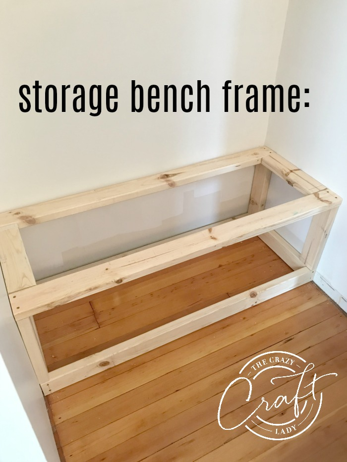 storage bench frame built from 2x4s