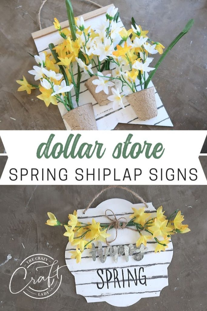 Dollar Store Spring Shiplap Signs - Grab some dollar store mini door hangers - Paint them with chalk paint to look like shiplap, and decorate with dollar store spring flowers
