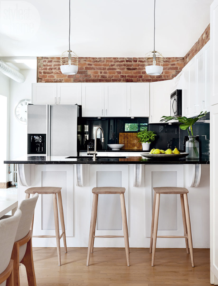 How to decorate above kitchen cabinets - adding brick backsplash above kitchen cabinets