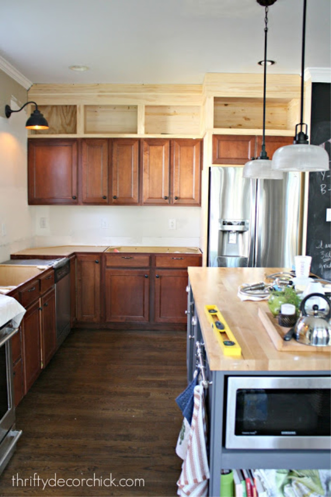 How to build kitchen cabinets up to the ceiling from Thrifty Decor Chick