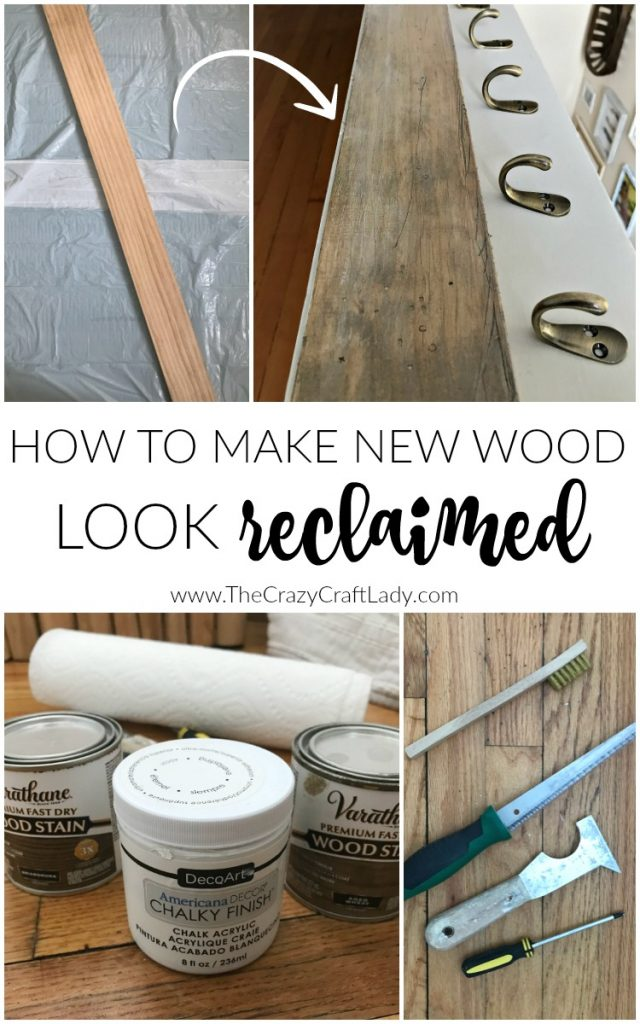 How to make new wood look reclaimed - how to distress and stain wood to give it a weathered and work look.