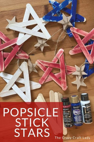 How to make red, white, and blue popsicle stick stars. This easy kids craft project is perfect to make for a summer craft, Memorial Day, of the 4th of July.