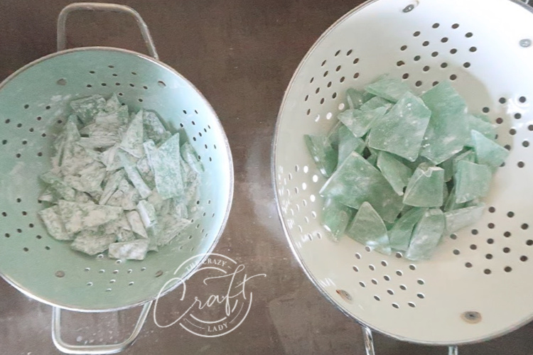 coating sea glass candy in powdered sugar for a buffed matte finish