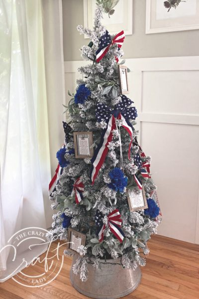 Come see my red, white, and blue patriotic Christmas tree all decked out for the 4th of July. All of the decorations came from Dollar Tree, and they came together in a snap!