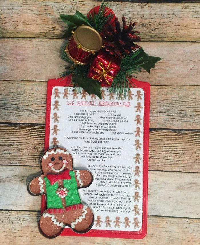 Dollar Store Cutting Board with Christmas Recipe